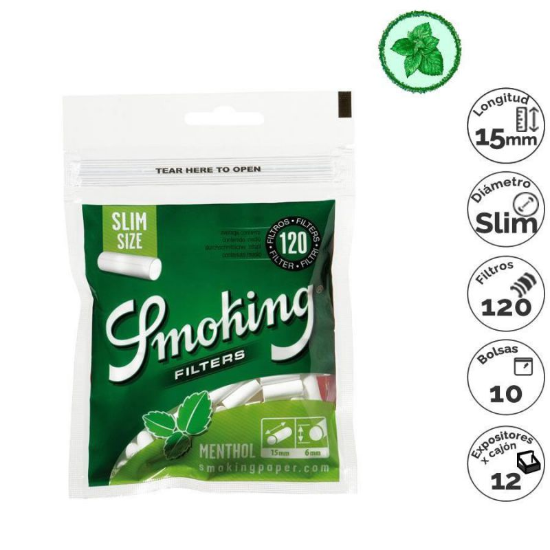 filtros smoking menthol slim 10x120