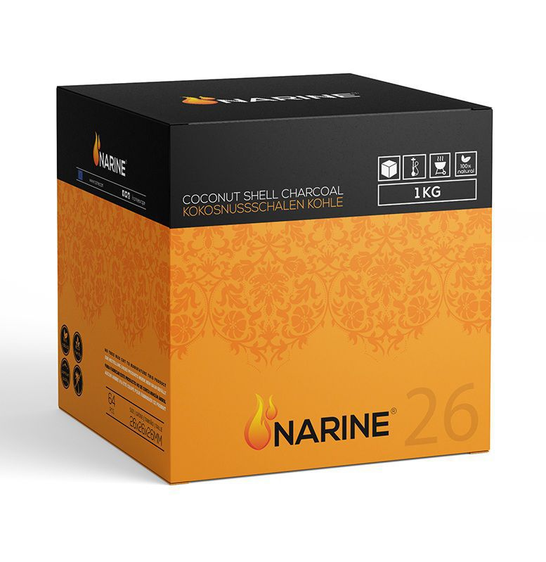 5 ESTUCHES CARBON COCO NARINE 1 KG 26 X26 MM