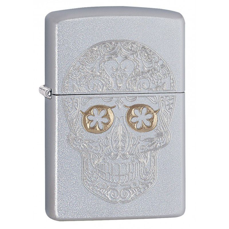 zippo etched skull