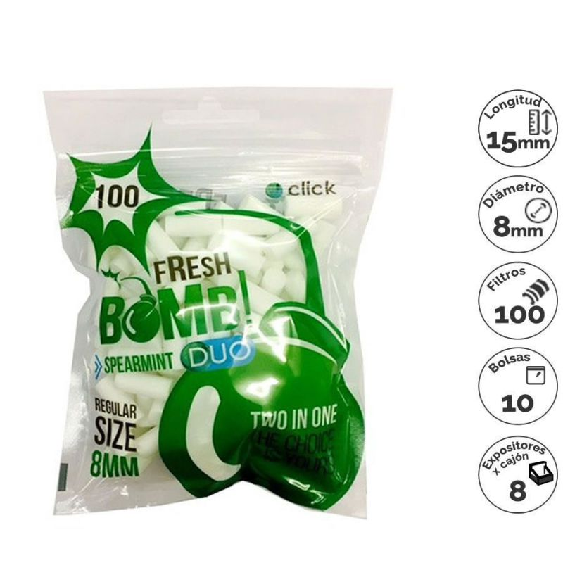 filtros bomb fresh 8mm capsu spearmint (10x100)