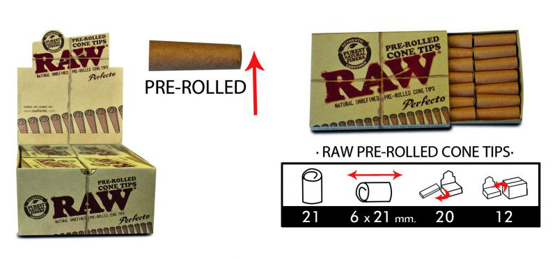 raw tips pre-rolled cone 20x21