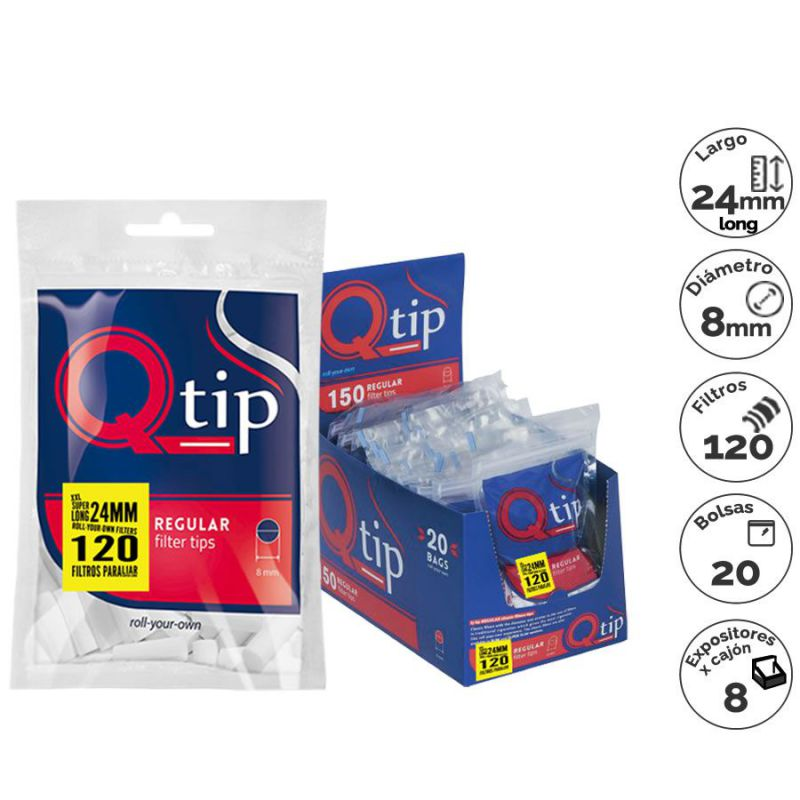 filtros q-tip 120 regular x-long (1 x 20)