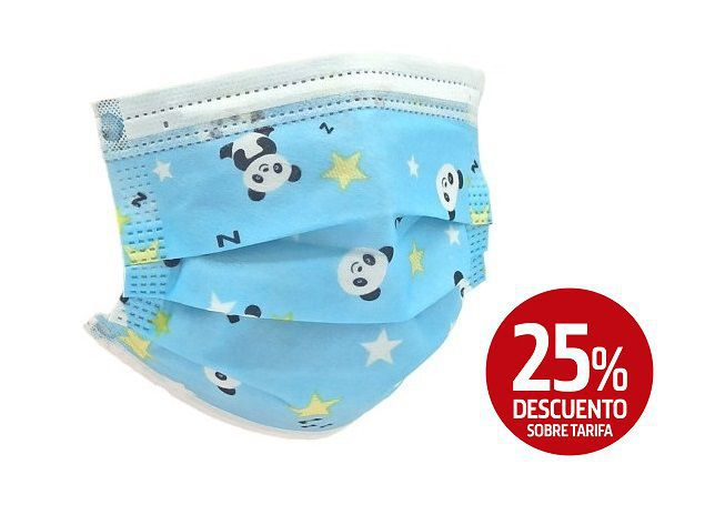 pack 20 mascarillas infantiles azules